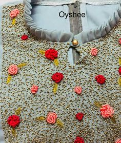 WhatsApp 9035330901 to customise Embroidery On Kurtis, Kurti Embroidery Design, Hand Embroidery Dress, Embroidery Neck Designs, Hand Embroidery Videos, Embroidery Works, Embroidery Suits, Embroidery Fashion, Beaded Embroidery