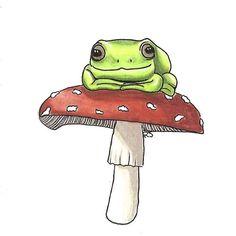 Indie Kunst, Arte Indie, Indie Art, Indie Drawings, Cool Art Drawings, Art Drawings Sketches, Mushroom Drawing, Mushroom Art, Frog Drawing