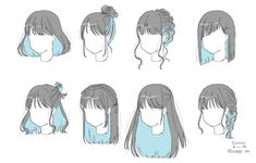 Hair Reference, Art Reference Poses, Drawing Base, Manga Drawing, Drawing Tips, Long Hair Drawing, Drawing Hair Tutorial, Pelo Anime, Hair Sketch