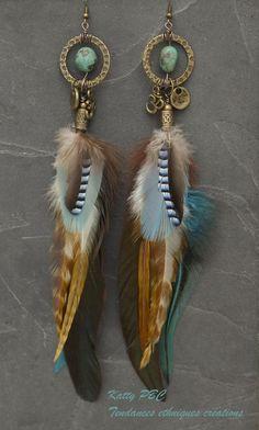"""Boucles d'oreille plume """"Bai"""" - turquoise, plumes et bronze"""