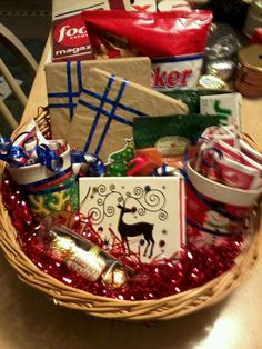 Fun Christmas present idea... a movie night basket... covers some new movies to snacks and hot coco...