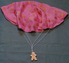Pink Star Silk and Wood Parachute by TweetToys on Etsy, $18.00