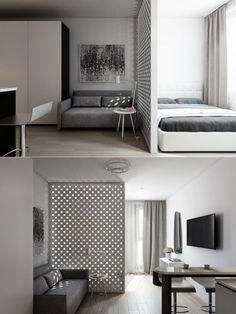 Condo Interior Design, Small Apartment Interior, Small Apartment Design, Apartment Layout, Home Room Design, Condo Design, Studio Apartment Living, Studio Apartment Decorating, Small Room Bedroom