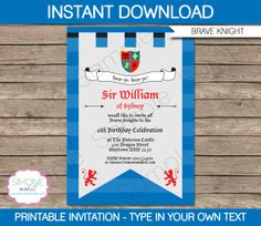 Medieval Knights Party Invitation  INSTANT by SIMONEmadeit on Etsy, $9.00