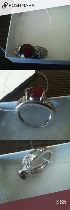 925 silver with ruby and diamonds Very nice, barely used, has 925 stamped Jewelry Rings