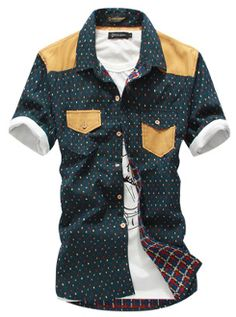 Men's Short Sleeve Casual Shirt with Colorful Pattern