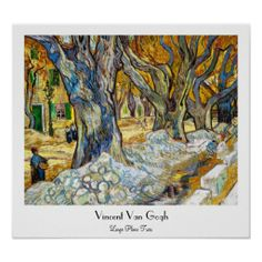 SOLD! - Large Plane Trees by Vincent Van Gogh Print #poster #trees #vangogh #painting #Paris #france #Home #decoration #art #postimpressionism