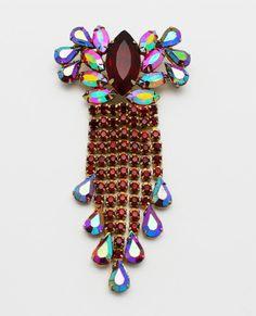 Vintage Brooch Red Rhinestones Large with Dangles by HeirloomBandB