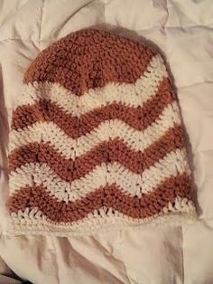 Chevron beanie to go with the chevron infinity scarf. Free crochet pattern.