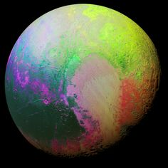 New Horizons scientists made this false color image of Pluto using a technique called principal component analysis to highlight the many subtle color differences between Pluto's distinct regions. The image data were collected by the spacecraft's Ralph/MVIC color camera on July 14 at 11:11 AM UTC, from a range of 22,000 miles (35,000 kilometers). Image Credit: NASA/JHUAPL/SwRI