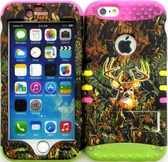 """Amazon.com: Green, Brown and Pink """"Realistic Camouflage Buck with Non-Slip Grip Texture"""" 3 Piece Layered ULTRA Tuff Custom Armored Hybrid Case for the NEW iPhone 6 Plus 5.5"""" Inch Smartphone by Apple {Made of Soft Silicone Gel and Hard Rubberized Plastic with External Built in Kickstand} """"All Ports Accessible"""": Cell Phones & Accessories"""