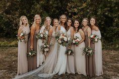 Tan Bridesmaids, Neutral Bridesmaid Dresses, Champagne Bridesmaid Dresses, Champagne Color Wedding, Winter Wedding Bridesmaids, Wedding Dresses, Boho Wedding, Dream Wedding, Taupe Wedding