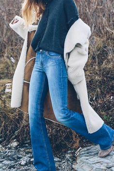 @jessannkirby in the Tangy Shearling Jacket, the Juju Fringe Cashmere Sweater and the Gigee flares. http://velvet-tees.com/tangy-reversible-sherpa-coat-e128b8.html
