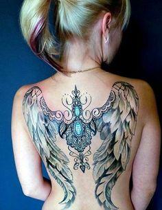 Back tattoo by Unknw Artist Fairy Wing Tattoos, Angel Wings Tattoo On Back, Wing Tattoos On Back, Girl Arm Tattoos, Skull Tattoos, Animal Tattoos, Sexy Tattoos, Body Art Tattoos, Tatoos