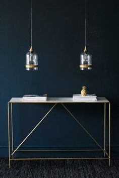 Marble Brass Effect Console Table