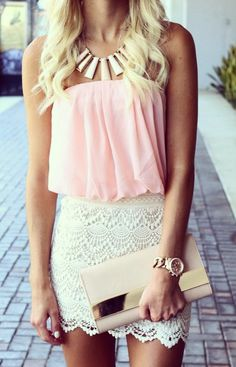 yellow lace pencil skirt+pink straples tank+camel and gold clutch bag+gold and camel statment necklace//