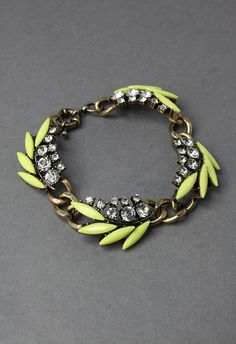 Neon Yellow Chunky Leaves Bracelet - Bracelets - Accessory - Retro, Indie and Unique Fashion