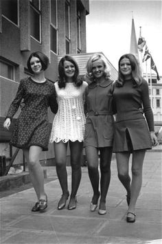 1960s street style.I kept 3 mini dresses,size xssw, one was a little leather number. None of my grandchildren can fit into them!!