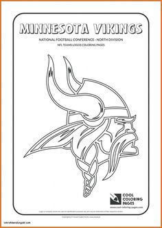 Cool Coloring Pages - NFL American Football Clubs Logos - National Football Conference - North Division / Minnesota Vikings logo / Coloring page with Minnesota Vikings logo Football Coloring Pages, Coloring Pages For Boys, Coloring Pages To Print, Coloring Books, Coloring Sheets, Frozen Coloring, Kids Coloring, Minnesota Vikings Logo, Viking Logo