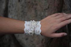 Bridal Lace Wedding Bracelet Lace cuff with bead by NevelynkaNasha, $49.00