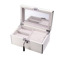 This wonderful White Wood 3 Level Jewelry Box W/ Slots For Rings & Locking Clasp featuring Lacquered white wood, 3 levels, Slots for rings and cufflinks, Mirror on the inside lid, Locking clasp. It is a perfect choice for your jewellery collection. Jewelry Box With Lock, Large Jewelry Box, Glass Jewelry Box, Leather Jewelry Box, Handmade Jewelry Box, Jewelry Chest, Wooden Jewelry Boxes, Jewelry Armoire, Jewelry Box Plans