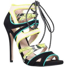 Carvela Ghecko Peep Toe Leather Sandals, Green Comb featuring polyvore fashion shoes sandals heels strappy sandals high heels stilettos lace up flat sandals leather sandals strappy flat sandals