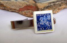 Portugal Antique Stamp 1944 50 Centavos  BLUE  TIE CLIP by Atrio,