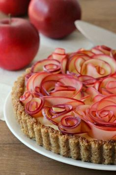 Apple Rose Tart with Maple Custard and Walnut Crust