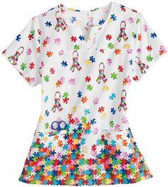 Autism Awareness Scrubs - Trust Your Journey 100% Cotton 1 In 88 Notch Neck Scrub Top