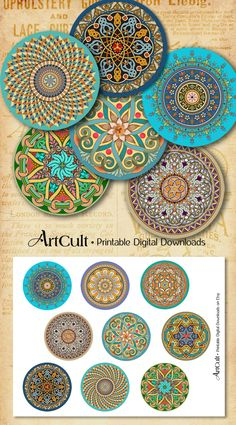 Printable Download ORIENTAL MANDALAS 2.5 inch size by ArtCult