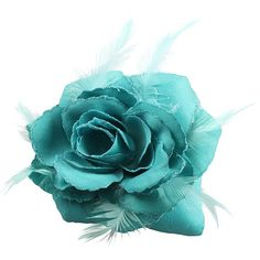 Teal Rose Hair Clip Large Rose Fascinator Rose Hair Accessories Clip... ($7.57) ❤ liked on Polyvore featuring beauty products