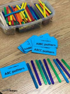 Try out a soft start in your Primary classroom with Good Morning Baskets filled . - Math Ideas - Try out a soft start in your Primary classroom with Good Morning Baskets filled with literacy and m - Patterning Kindergarten, Preschool Math, Kindergarten Activities, Teaching Math, Grade 2 Patterning Activities, Teaching Ideas, Morning Activities, Math Math, Guided Math