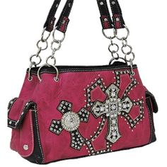 CLETO Hot Pink Double Cross & Wing Purse : Western Style Cross Purses