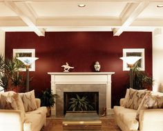 10 Free Clever Hacks: Living Room Remodel With Fireplace Decor living room remodel on a budget gray walls.Living Room Remodel With Fireplace Decor living room remodel before and after awesome.Small Living Room Remodel Tips. Maroon Walls, Burgundy Walls, Burgundy Living Room, Living Room Red, Living Room With Fireplace, Living Room Paint, Living Room Colors, Living Room Interior, Fireplace Redo