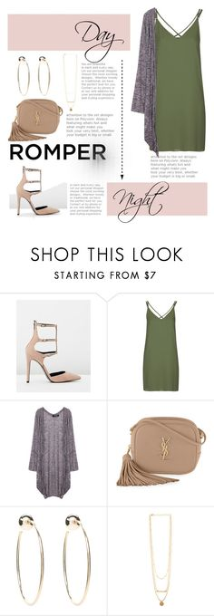 """""""Day to night"""" by diomndhala ❤ liked on Polyvore featuring Kendall + Kylie, Topshop, Yves Saint Laurent, Bebe, DayToNight and romper"""