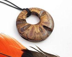 Boho style necklace - Australian gift idea, tribal wood necklace, banksia, gift for her, long boho n Wooden Necklace, Wooden Earrings, Wooden Jewelry, Unique Earrings, Hoop Earrings, Pendant Necklace, Australian Gifts, Norse Runes, Estilo Boho