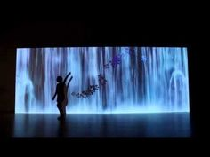 The Spirit Waterfall Sisyu + teamLab, 2012, Interactive Animation Installation, Calligraphy: Sisyu, Sound: Hideaki Takahashi Waterfalls and rivers painted by Japanese Masters are often expressed with a collection of lines. Somewhere within that collection of lines we can feel the spirit.