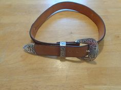 Vintage Brown Genuine Leather Mini Scallops Embossed Belt with Silver Buckle Size 32 Inches