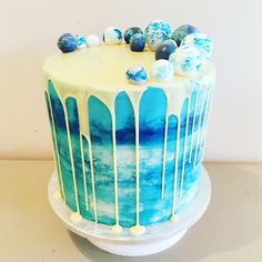 Blue bubble theme buttercream cake by Pastry Girls London                                                                                                                                                                                 More
