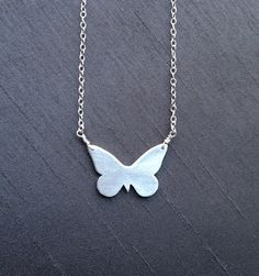 "Silver Butterfly Pendant by BitsofSilver ;handcrafted in fine silver(.999%) and hangs on a 16""sterling silver chain.A perfect gift for the butterfly lover! ($40)"