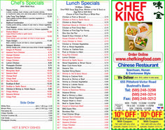 Chef King in Bushnell's Basin delivers! Order online too. Our menu presents delicious options like sesame chicken and sweet and sour pork, with soupons to save you 10% your meal! Great Asian cuisine.