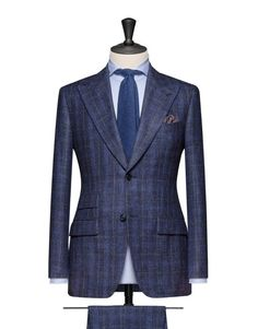 Dark Blue Check Composed Of Wool, Silk And Linen. Code 4654