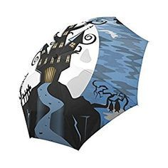 AmazonSmile  your-fantasia Custom Halloween Night Scene With Spooky Ghost  Castle Auto Open Close Folding Waterproof Fabric Travel Umbrella  Sports    ... 31a4023cbe1