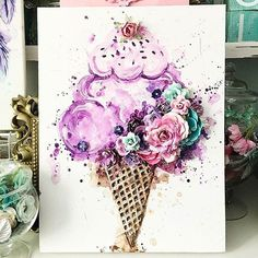 """#Repost @staceyyoungdesigns ・・・ """"I Scream, you scream, we all scream for ICECREAM""""  Absolutely love this, so glad I got to create another icecream!  It seriously looks good enough to eat  #icecream #canvasart #watercolour #primaflowers #primamarketing #icecreamlove #floralicecream #mixedmedia #artist #creativeart #watercolorconfections #primawatercolors"""