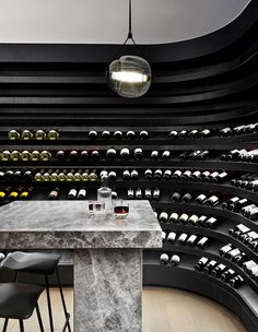 Exemplary cellar storage in Mim Design's NNH Residence. design Does It Spark Joy? Storage Ideas From Five Great Australian Designers Mim Design, Home Wine Cellars, Wine Cellar Design, Wine Bar Design, Architecture Design, Home Bar Designs, Wine Storage, Storage Ideas, Wine Display
