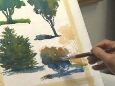 Уроки акварели. Методы рисования деревьев акварелью. Смешиваем цвета прямо на бумаге.