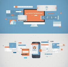 Flat Design Concepts for Mobile App and Website
