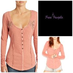 Free People Slub Henley Lightweight slub cotton shapes a long-sleeve henley top detailed with allover reverse seams and embroidered lace insets at the yoke. Oversized cuffs and a vented high/low hemline enhance the casual spirit of this boho-chic essential.  100% cotton. Machine wash cold, dry flat. By Free People;  Color;  Terracotta.     (10) Free People Tops