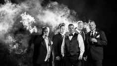 Our smokin' hot guys: FOB, groom, groomsmen and FOG all celebrating with cigars!