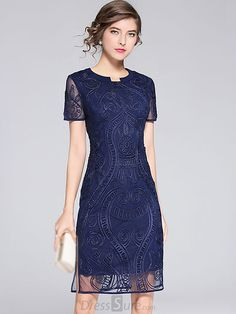 Fashion O-Neck Short Sleeve Mesh Pacthwork Bodycon Dress - Cocktail Dress Bodycon Prom Dresses, Homecoming Dresses, Evening Dresses, Formal Dresses, Dresses Dresses, Dress Outfits, Sheath Dresses, Embroidery Dress, Maxi Dress With Sleeves